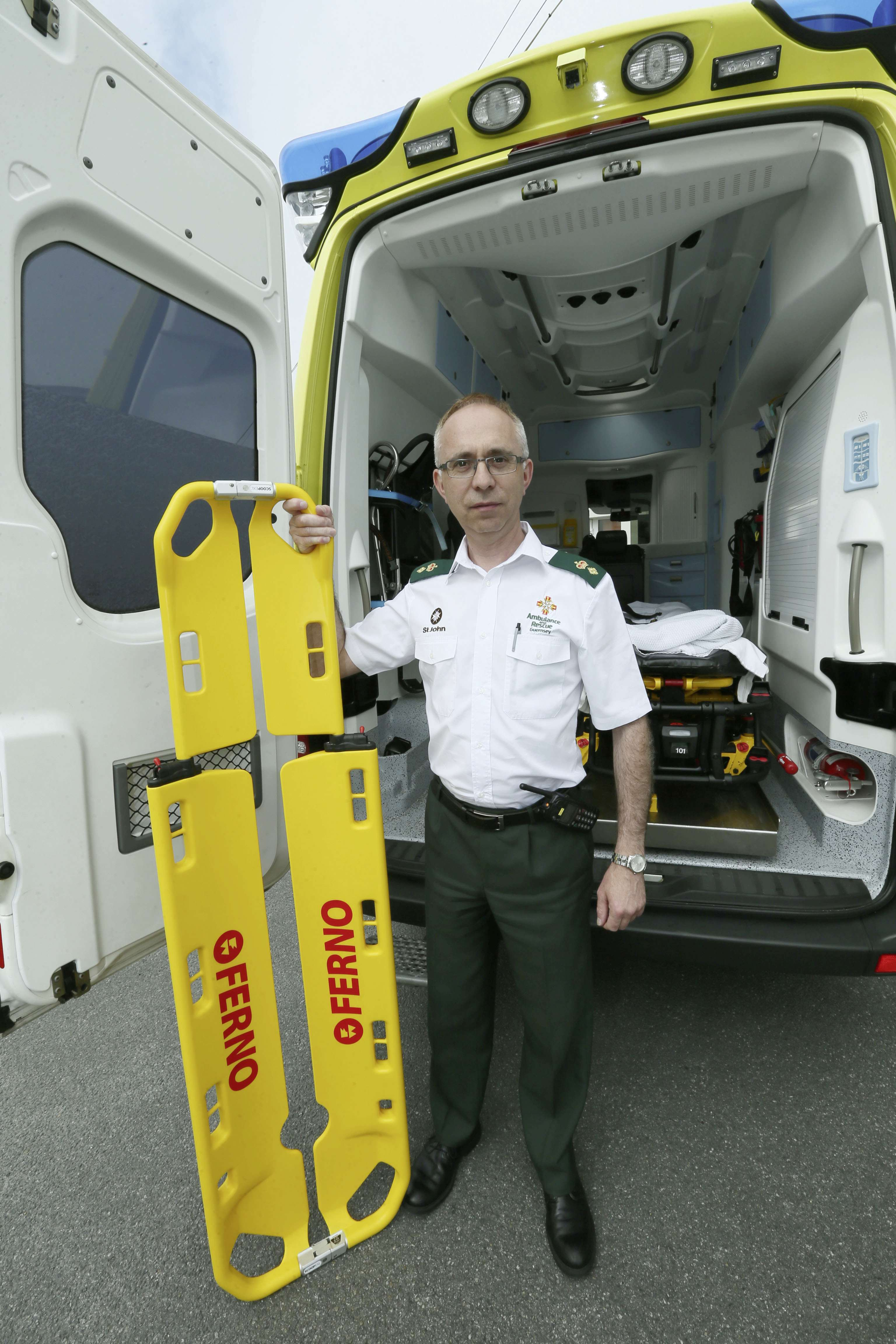 Pic by Adrian Miller 17-06-15 St John Ambulance station St John have bought six scoop stretchers with the money from Channel Islands Christmas Lottery Dean de la Mare senior officer
