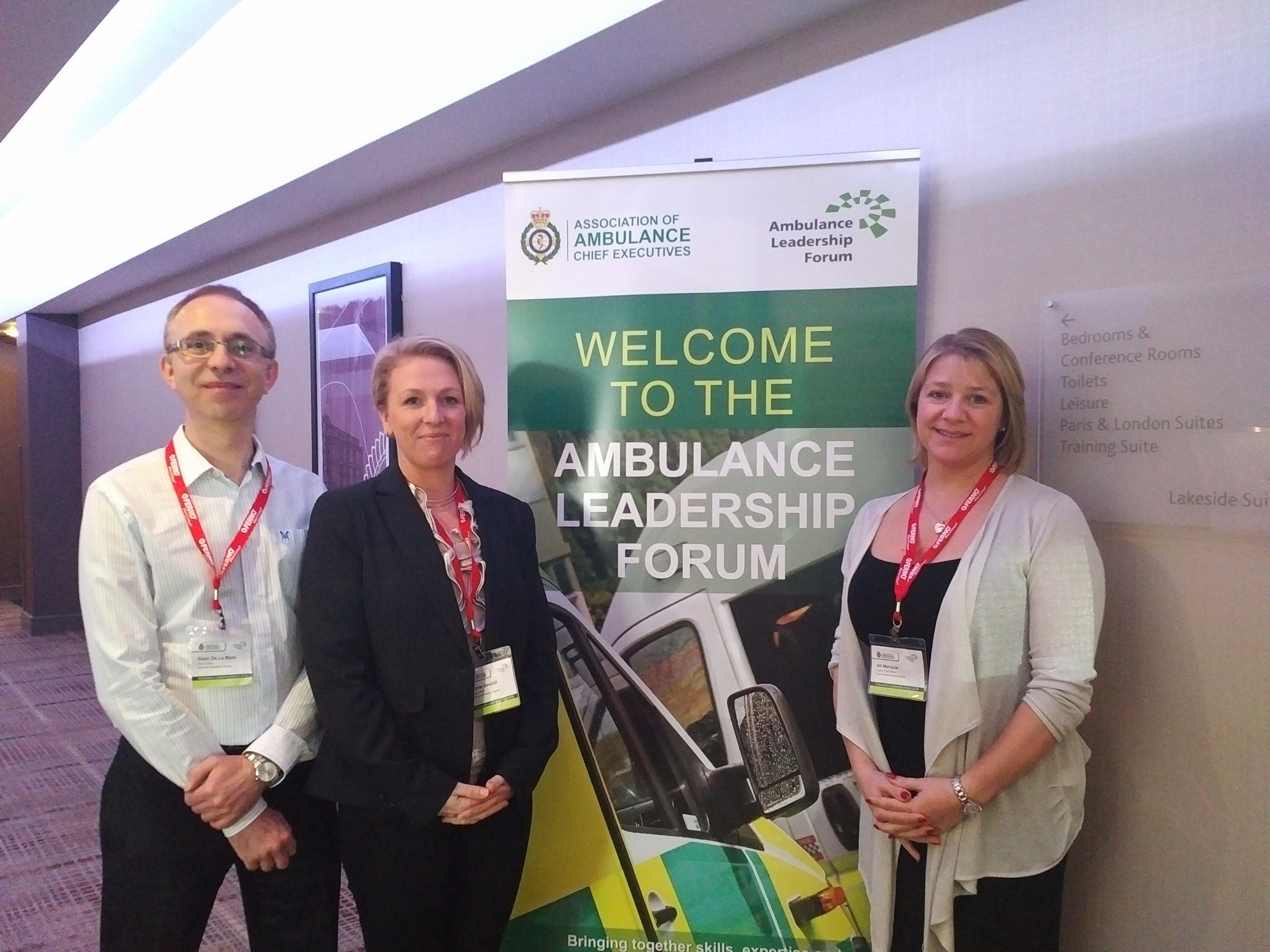 Senior St John Emergency Ambulance Service officers Dean De la Mare, Carrie Goodall and Deputy Chief Officer Ali Marquis at the Ambulance Leadership forum