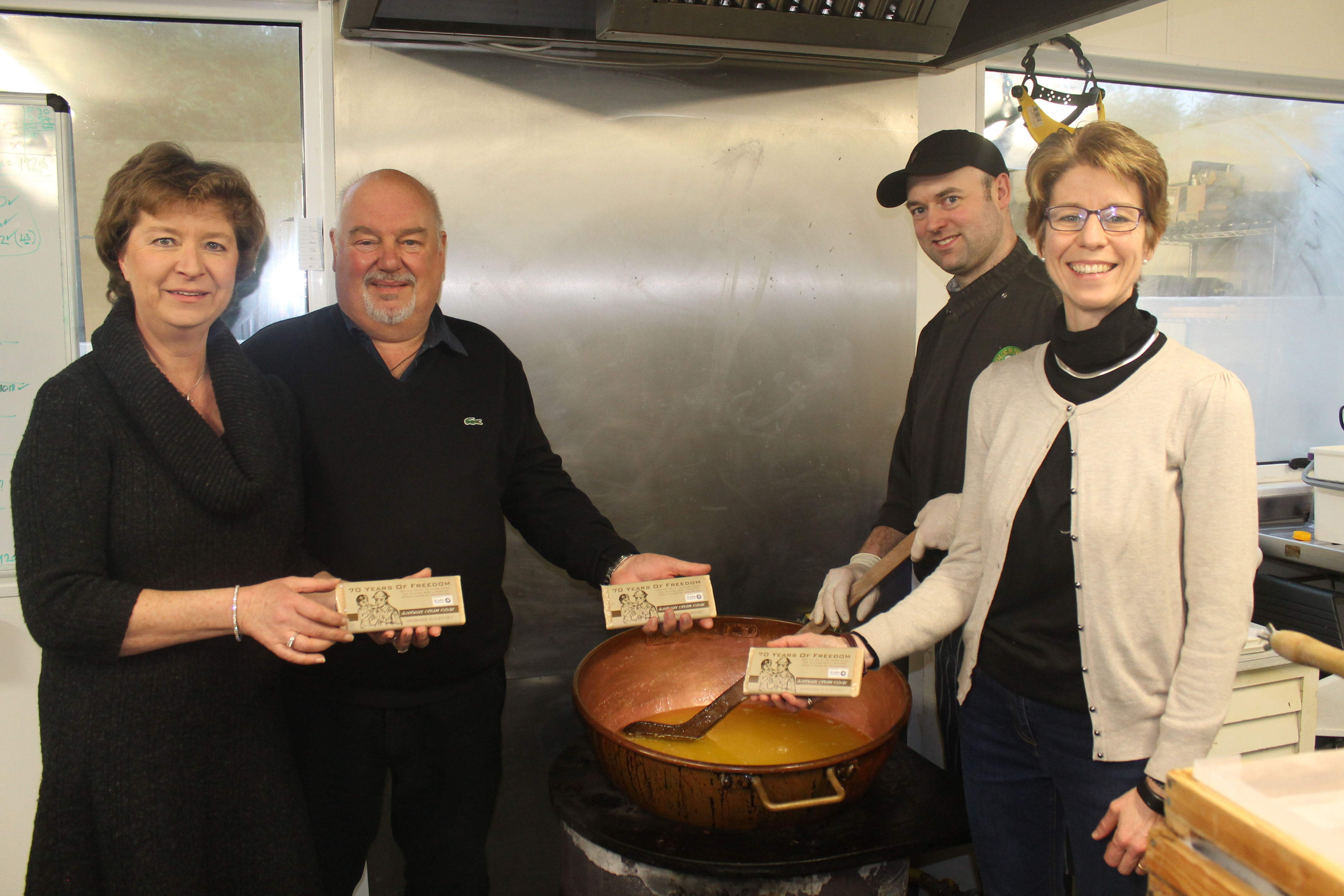 Rosemary and Terry Willey, left, co-owners of Guernsey Gourmet Fudge and chef Craig Wynstone and Vanessa Spiller, right, chief executive officer of the Commandery of St John